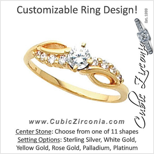 Cubic Zirconia Engagement Ring- The Anastasia (Customizable 9-stone Artisan Design)