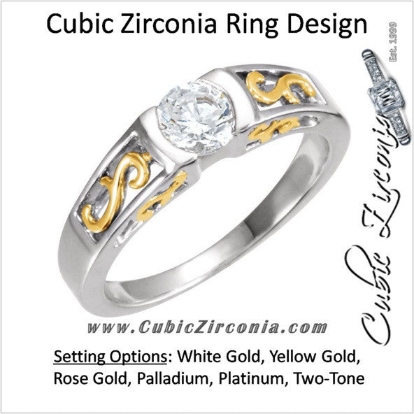 Cubic Zirconia Engagement Ring- The Kristi (0.5 CT Round Bezel-Set Solitaire with S-Pattern Band and Two-Tone Option)