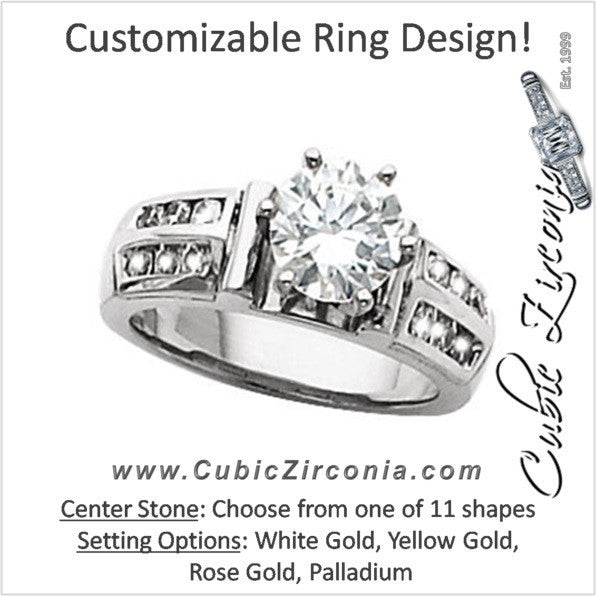 Cubic Zirconia Engagement Ring- The Dayna (Customizable with Double Row of Round Channel Accents)