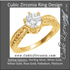 Cubic Zirconia Engagement Ring- The Colleen (0.25-1.0 Carat Round Semi-Solitaire with Flame Channel Band)