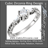Cubic Zirconia Engagement Ring- The Mallory (0.25-1.0 Carat 3-stone Antique Round-Cut with Dual Tapered Baguettes)