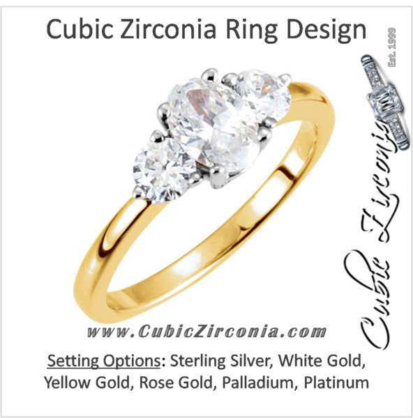 Cubic Zirconia Engagement Ring- The Nikki (Oval Cut Three Stone)