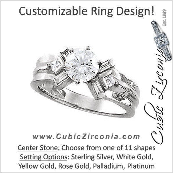 Cubic Zirconia Engagement Ring- The Alanna (Customizable 7-stone with Angled Princess and Baguette Accents)