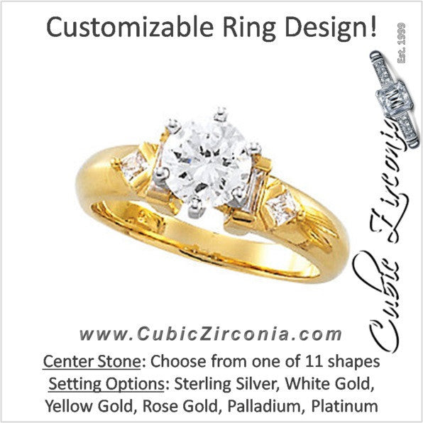 Cubic Zirconia Engagement Ring- The Larissa (Customizable 5-stone with Princess Cut & Baguette Accents)