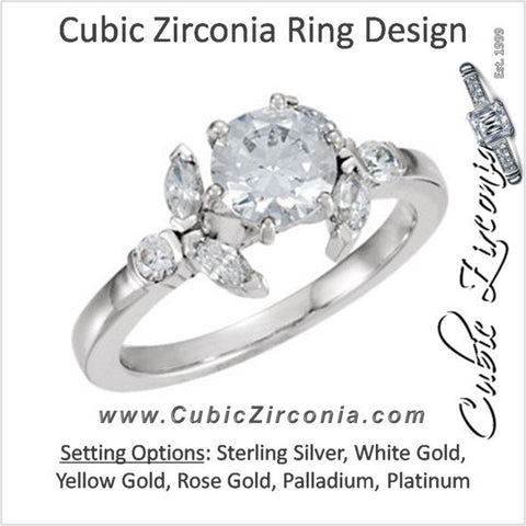 Cubic Zirconia Engagement Ring- The Ashlee (1.48 Carat TCW Round Cut 7-stone with Floral-inspired Marquise Accents)