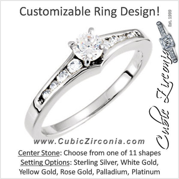 Cubic Zirconia Engagement Ring- The Jana (Customizable 9-stone Round Channel)