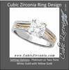 Cubic Zirconia Engagement Ring- The Regina (Round 1.0 CT Solitaire with Hand-Engraved Band and Two-Tone Metal)