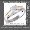Cubic Zirconia Engagement Ring- The Mandy (1.0 CT Two Tone Hand-Engraved Stackable Ring)