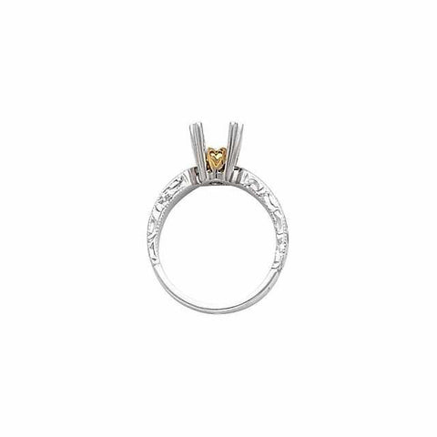 Cubic Zirconia Engagement Ring- The Autumn (1.0 CT Round Solitaire with Hand-Engraved Band and Two-Tone Peekaboo Accents)