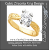 Cubic Zirconia Engagement Ring- The Iris (Round 1.0 CT Solitaire with Hand-Engraved Band and Two-Tone Gold Accents)