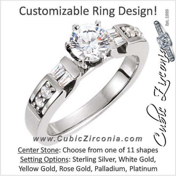 Cubic Zirconia Engagement Ring- The Alaina (Customizable 9-stone with Round and Tapered Baguette Accents)