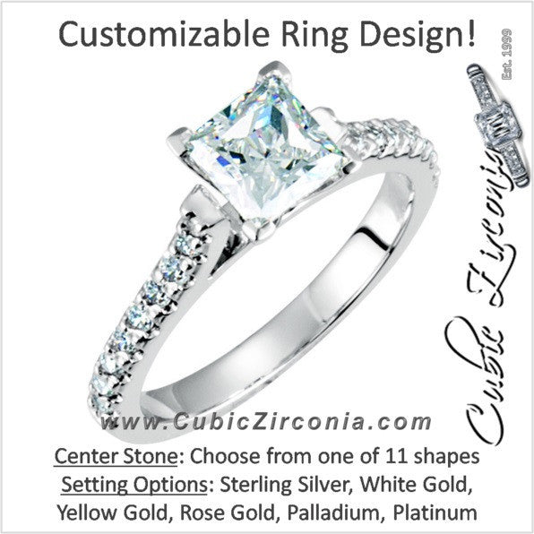 Cubic Zirconia Engagement Ring- The Chandra (Customizable with Faux Round Pavé Band)