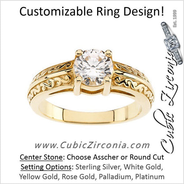 Cubic Zirconia Engagement Ring- The Jasmine (1 Carat Engraved Scroll Design Solitaire)