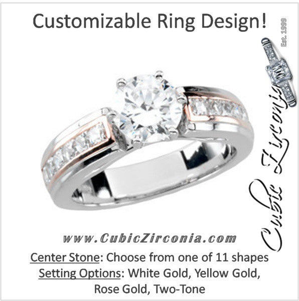 44169dd707c7a CZ Wedding Set, Style 232 featuring The Natalie engagement ring  (Customizable Center Stone with Two-Tone Princess Channel Band)