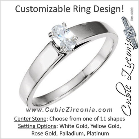 Cubic Zirconia Engagement Ring- The Abby (Customizable Tapered Band Solitaire)
