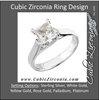 Cubic Zirconia Engagement Ring- The Stacy (0.25-1.25 CT Princess-Cut with Twin Round Peekaboos)