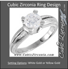 Cubic Zirconia Engagement Ring- The Kendra (1 Carat Round 4-Prong Solitaire with Hand-Engraved Ribbed Metal)