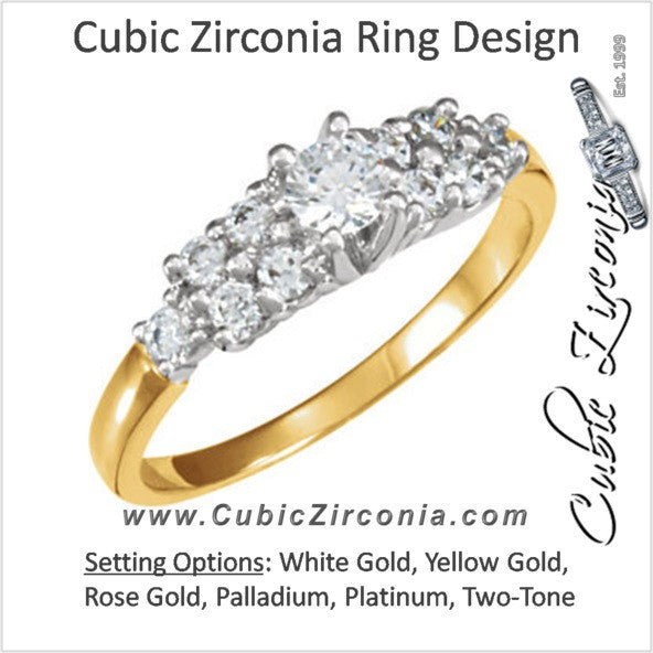 Cubic Zirconia Engagement Ring- The Jonique (0.50 Carat TCW 11-stone Round-cut)