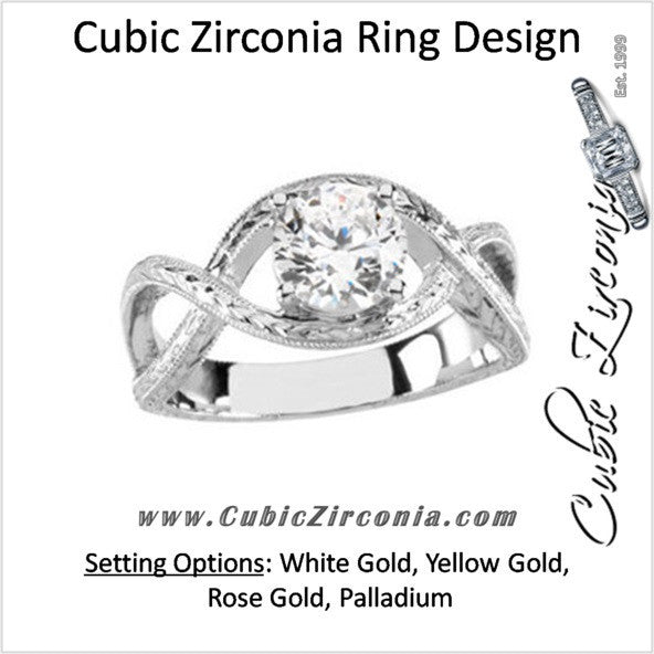 Cubic Zirconia Engagement Ring- The Katherine (Round 1 Carat Solitaire with Oversized Infinity Twist Band)