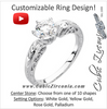 "Cubic Zirconia Engagement Ring- The Virginia (Customizable Solitaire with ""Fiery"" Hand-Engraved Band)"