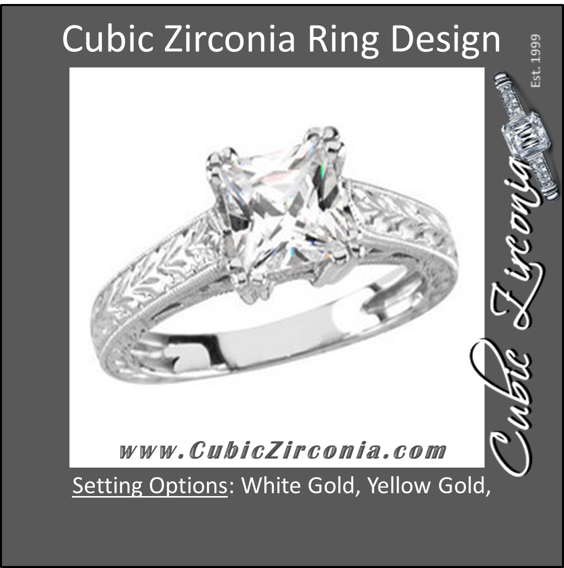 Cz Ring The Cindy 0 5 Or 1 Ct Princess Solitaire Cubic Zirconia Cz