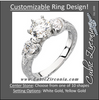 Cubic Zirconia Engagement Ring- The Deanna (Customizable Semi-Solitaire with Leafy-inscribed Band)