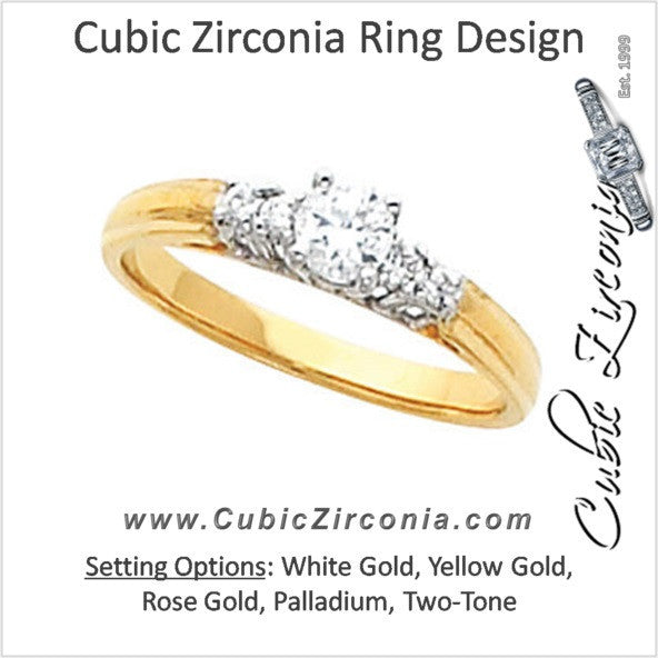 Cubic Zirconia Engagement Ring- The Demi (0.33 Carat Two-tone 5-stone)