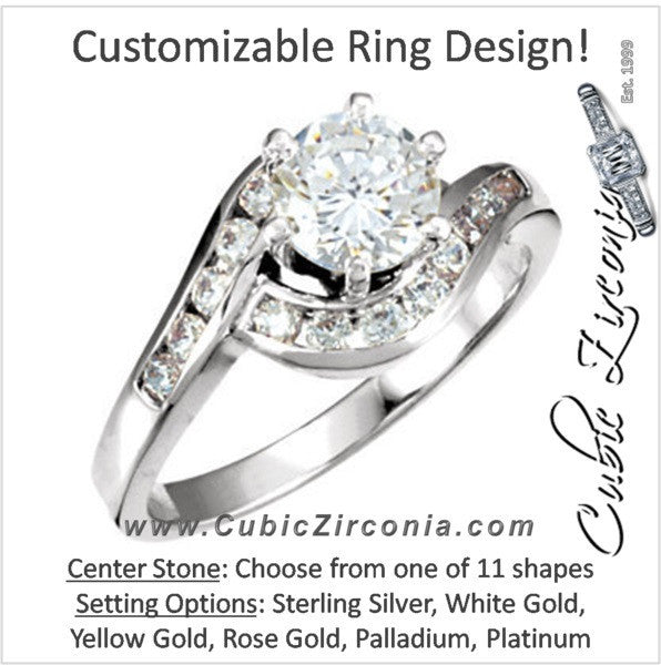 Cubic Zirconia Engagement Ring- The Porsche (Customizable Bypass Split-Band with Round Channel Accents)