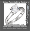 Cubic Zirconia Engagement Ring- The Valerie (Round-Cut Cathedral with 2 Bezel-Set Side Accent Stones)