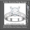 Cubic Zirconia Engagement Ring- The Dana (Princess-Cut Semi-Solitaire with Twin Kite-Bezel-Set Peekaboo Accents)