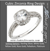 Cubic Zirconia Engagement Ring- The Elayne (Round Halo-Style with Pave)