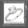 Cubic Zirconia Engagement Ring- The Kichelle (Round Cut Pave Band with Accented Basket)
