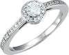 Cubic Zirconia Engagement Ring- The Annette (Round Cut Halo with Delicate Pavé Band)