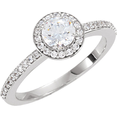 Cubic Zirconia Engagement Ring- The Leigh (Round Bezel Halo-Style with Pave Band)