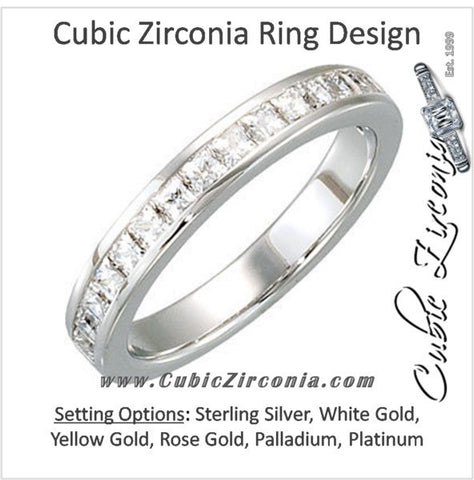 Cubic Zirconia Anniversary Ring Band, Style 121-593 (1.02 TCW Princess Channel)