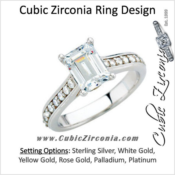 Cz Ring The Kimberly 1 Ct Emerald Cut Cathedral Style Cubic Zirconia Cz