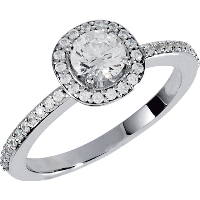 Cubic Zirconia Engagement Ring- The Margaret (0.5-1.5 Carat Round Halo-Style with Pave Band)