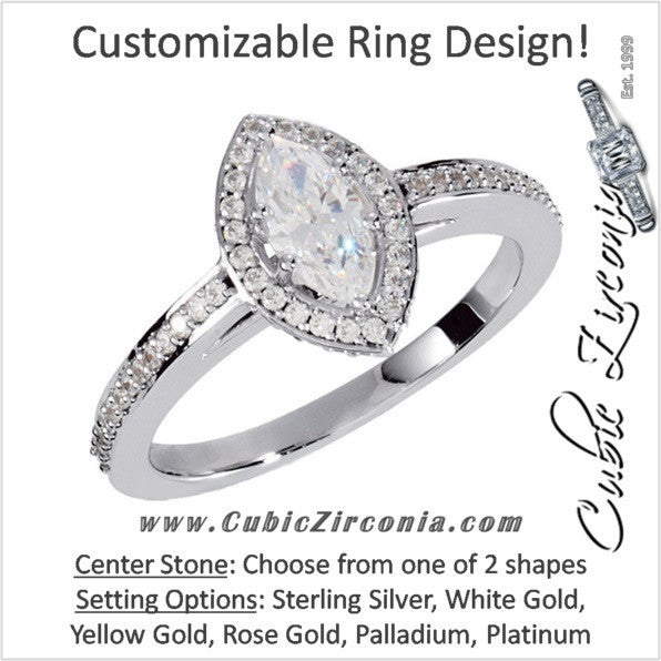 Cubic Zirconia Engagement Ring- The Erica (Marquise or Pear Cut Cathedral Halo Pave Band)
