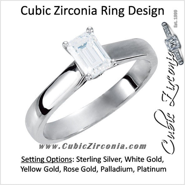 Cubic Zirconia Engagement Ring- The Candice (0.5-4.0 CT Emerald-Cut Cathedral Style Center with Kite-set Square Bezel Peekaboo Accents)