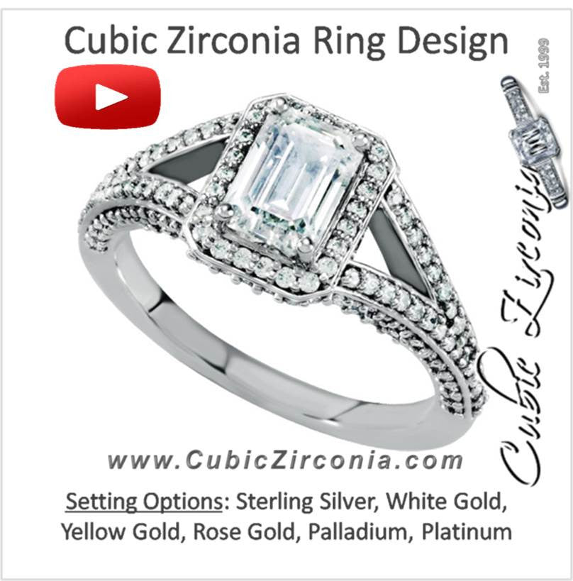Cubic Zirconia Engagement Ring- The Penney (Emerald Cut 165-stone Vintage Design with Halo Setting and Pave Band)