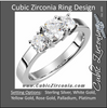Cubic Zirconia Engagement Ring- The Tracy (Round 1.5-2.0 TCW 3-Stone Petite Band)