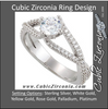 Cubic Zirconia Engagement Ring- The Liv Christina (Round Tiara-themed Split-Band with Pave)