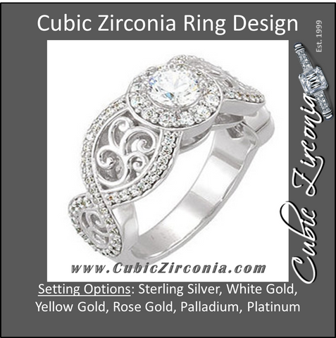 Cubic Zirconia Engagement Ring- The Kellie (0.5-1.0 Carat Round Infinity Halo-Style with Split-Band)