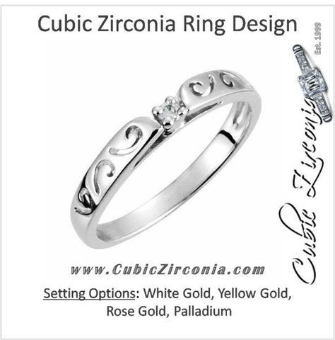 Cubic Zirconia Anniversary Ring Band, Style 121-71 (0.03 TCW Sculpture-inscribed)