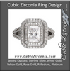 Cubic Zirconia Engagement Ring- The Dara (Emerald-Cut Split-Band with Pave)
