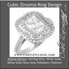 Cubic Zirconia Engagement Ring- The Jessica Mary (Emerald-Cut with Double Halo and Pave Band)