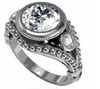 Cubic Zirconia Engagement Ring- The Carolyn (3-Stone 2.14 TCW Round Bezel-set with Bubble Beaded Design)