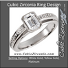 Cubic Zirconia Engagement Ring- The Sharon (1.18 TCW Emerald-Cut with Pave Band)