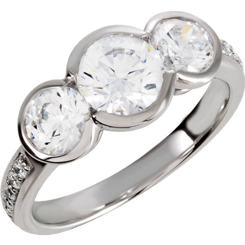 Cubic Zirconia Engagement Ring- The Alisha (3-Stone 2.24 TCW Round Bezel-Set with Pave Band)