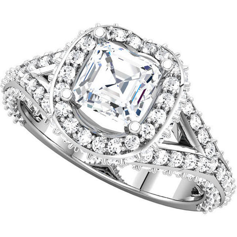 Cubic Zirconia Engagement Ring- The April (0.75 Asscher Cut Split-Band Halo-Style with Pave Band)